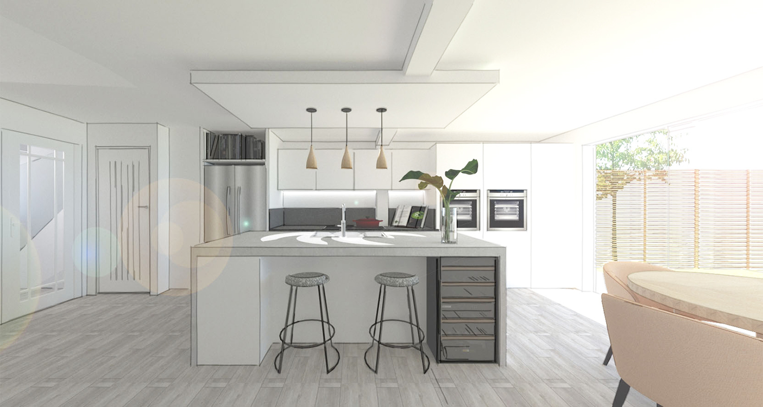 Kitchen and Living Rooms